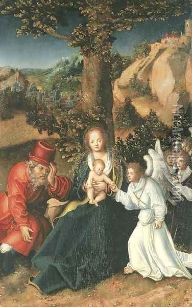 The Holy Family with angels in a landscape Oil Painting - Lucas The Elder Cranach