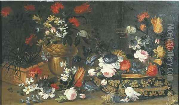 Roses, tulips and other flowers in a terracotta pot Oil Painting - Margherita Caffi
