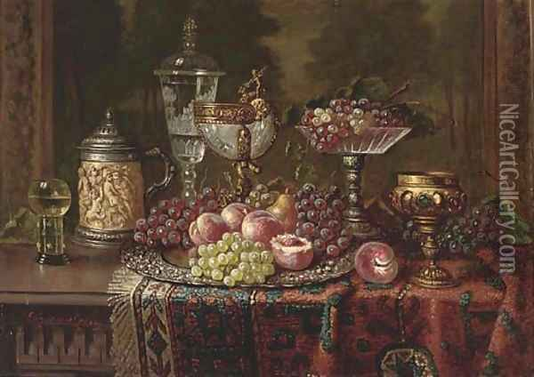 A salver of fruit and various vessels on a draped table Oil Painting - Ernst Czernotzky