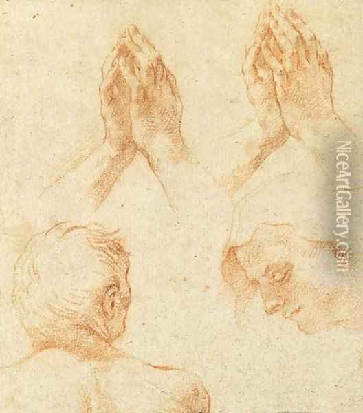 The Head Of A Man Seen From Behind, Praying Hands And The Head Of The Virgin Oil Painting - Brtolomeo Cesi