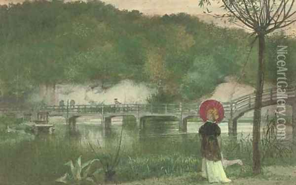 The red parasol Oil Painting - Walter Crane