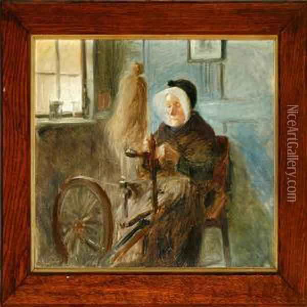 Country Interior With A Peasant Wife At Her Spinning Wheel Oil Painting - Knud Larsen