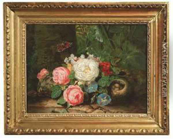 Lauer, Josef. Still-life With Flowers, A Bird's Nest And A Butterfly Oil Painting - Josef Lauer