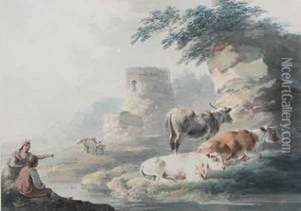 Travellers And Cattle Resting By Ruins Oil Painting - Peter La Cave