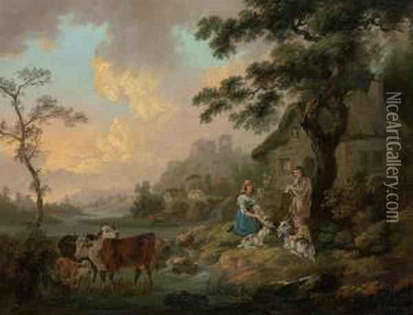 A River Landscape With Cattle Watering And A Family By Their Cottage Oil Painting - Peter La Cave