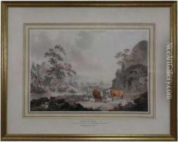 Herdsman, Milkmaid And Cattle Outside A Farmhouse Oil Painting - Peter La Cave