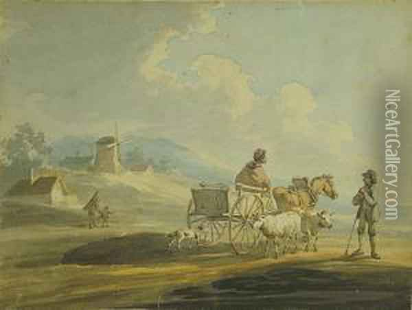 Ady On Horse And Cart On A Country Lanetalking To A Shepherd With Two Sheep And His Dog Oil Painting - Peter La Cave