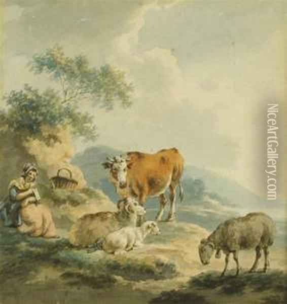A Young Maiden In A Landscape With Cattle And Sheep Oil Painting - Peter La Cave