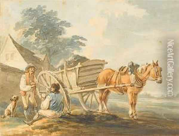 Figures Resting By A Horse And Cart Oil Painting - Peter La Cave