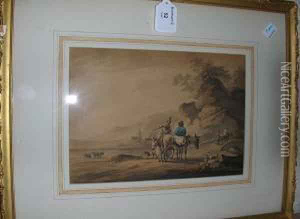 Travellers With Donkeys On A Path, Signed Anddated 1799 Oil Painting - Peter La Cave