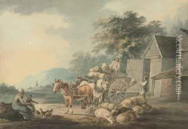 Loading The Wagon (illustrated); And Figures Conversing On Theforeshore Oil Painting - Peter La Cave