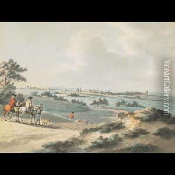 View Of Oxford With Figures On Horseback To The Fore Oil Painting - Peter La Cave