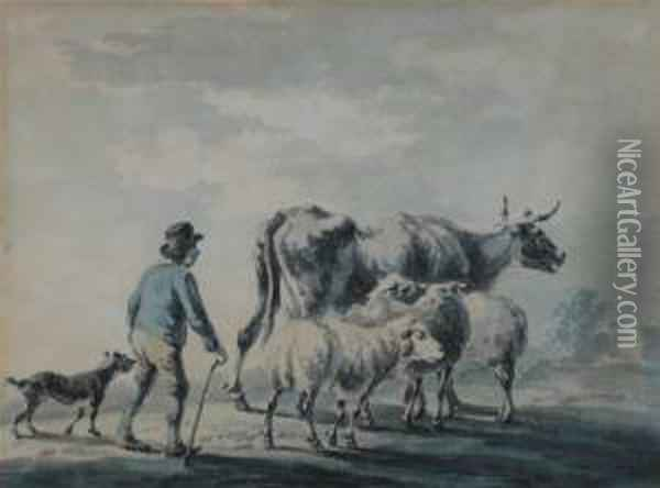 A Herdsman, Cows And Sheep Oil Painting - Peter La Cave