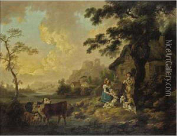 A Rustic Scene With Ruins Beyond Oil Painting - Peter La Cave