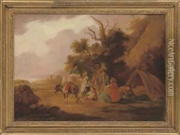Travellers At Rest In A Wooded Landscape Oil Painting - Peter La Cave
