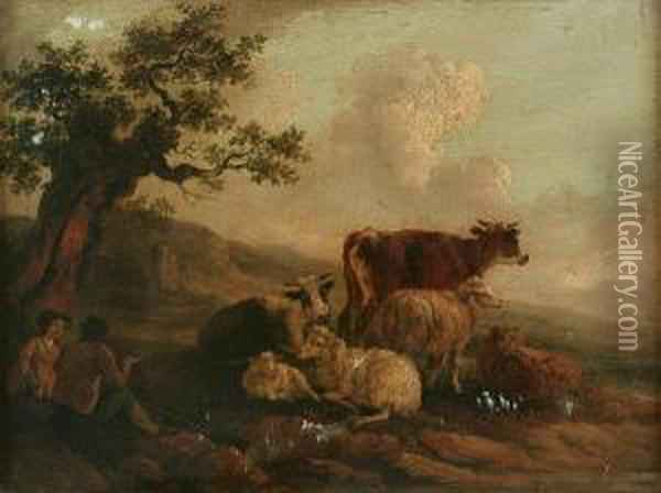 Herdsmen On A Country Road, And Another, Herdsman And Maid With Cattle And Sheep, A Pair Oil Painting - Peter La Cave