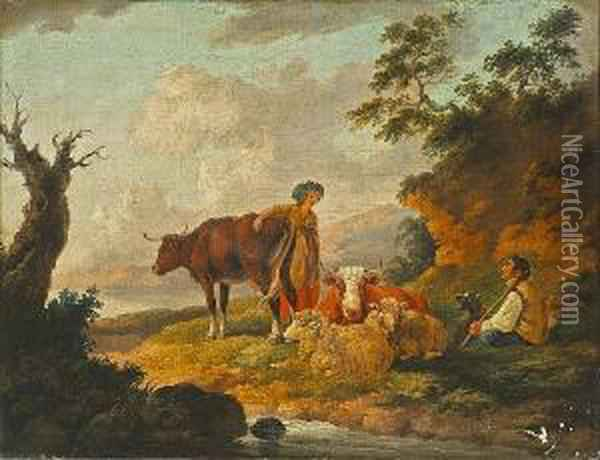 A Milkmaid And A Shepherd With His Flock And Cattle In An Extensive Landscape Oil Painting - Peter La Cave