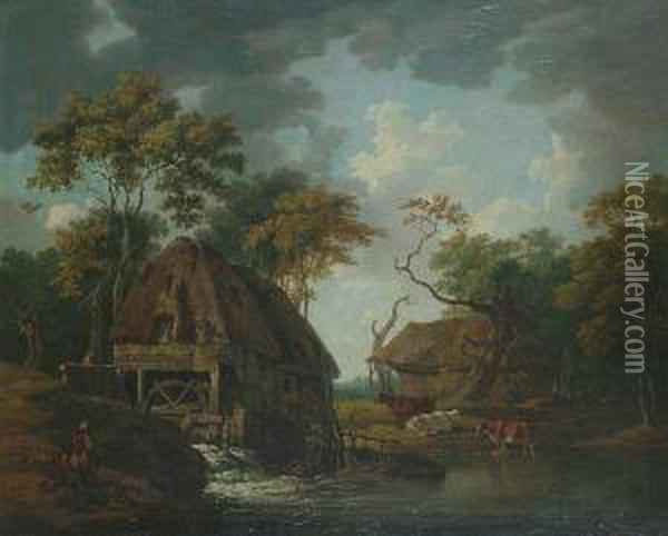 Figures And Cattle By A Watermill. Oil Painting - Peter La Cave