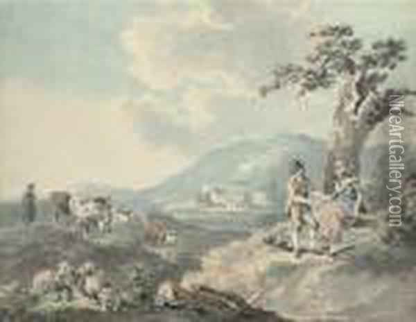 Figures In A Landscape With Cattle Beyond; And Figures By The Seawith A Donkey Oil Painting - Peter La Cave