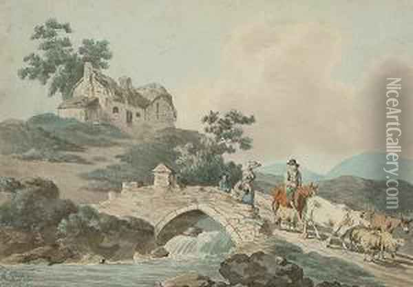 Figures, Cattle And Sheep Crossing A Bridge Oil Painting - Peter La Cave