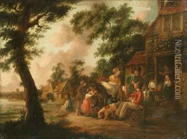 Travellers And Country Folk Outside An Inn With A Watermill Beyond Oil Painting - Peter La Cave