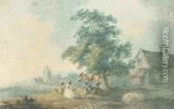 Figures And A Donkey Resting Outside A Village Oil Painting - Peter La Cave