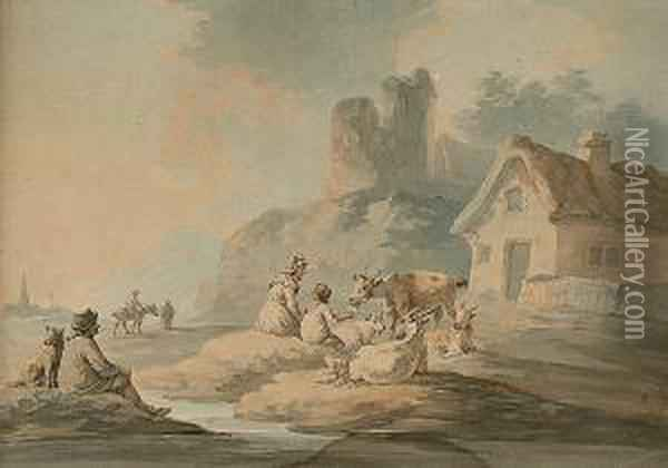 Figures And Goats By A Cottage Oil Painting - Peter La Cave
