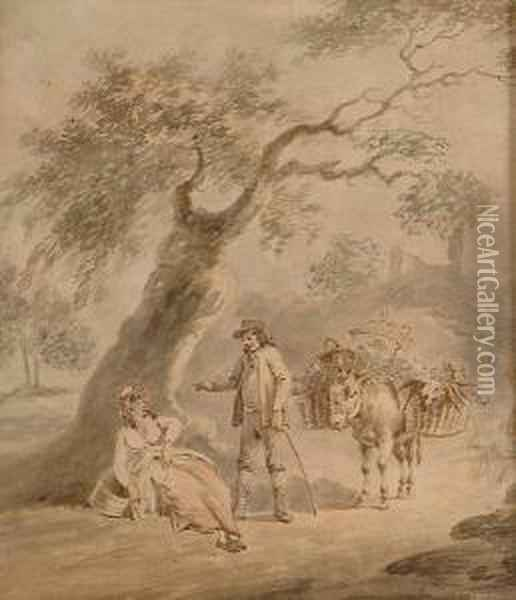 Figures With A Donkey Oil Painting - Peter La Cave