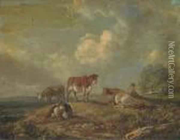A Drover With Cattle Oil Painting - Peter La Cave