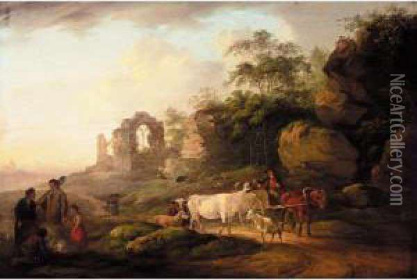 Peasants And A Drover On A Country Road, A Ruined Abbey Beyond Oil Painting - Peter La Cave