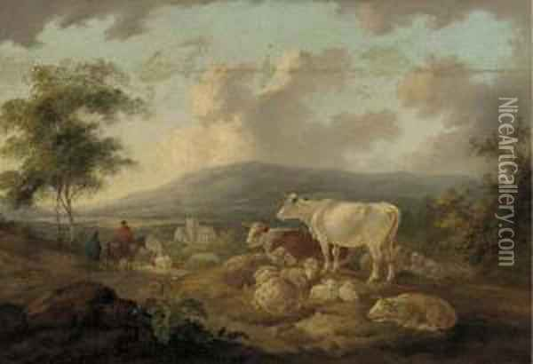 Figures On A Track Returning To A Village, Cattle And Sheep In The Foreground Oil Painting - Peter La Cave