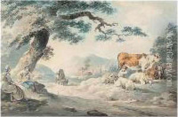 Figures By A Roadside With Sheep And Cattle Oil Painting - Peter La Cave