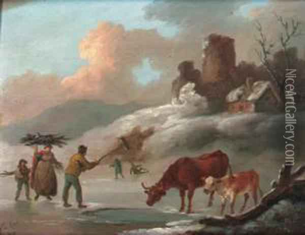 Figures And Cattle On A Frozen Lake Oil Painting - Peter La Cave