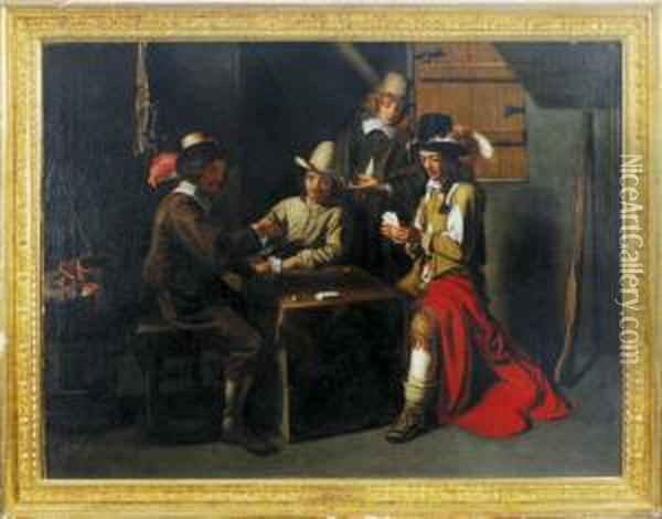 Cardplayers In An Interior Oil Painting - Mathieu Le Nain