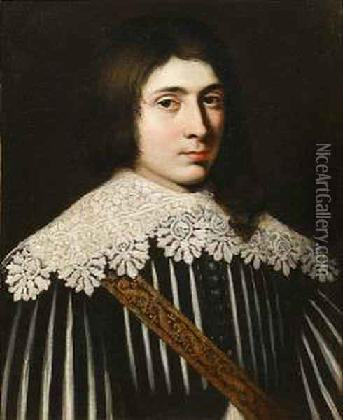 Portrait Of A Young Man, Bust-length, In Blackand White Costume With A Lace Collar Oil Painting - Mathieu Le Nain