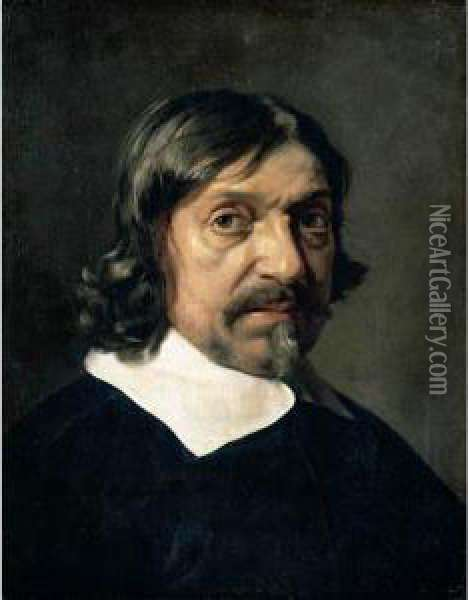 Portrait Of A Man, Head And Shoulders, Said To Be The Philosopher Renee Descartes Oil Painting - Mathieu Le Nain