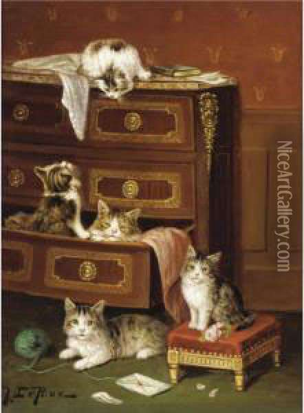 Musical Kittens; A New Hiding Place Oil Painting - Jules Leroy