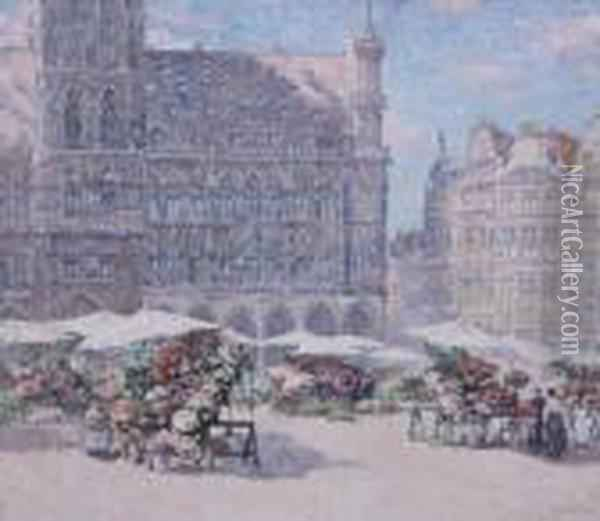 'grand' Place De Bruxelles Au 15 Aout' Oil Painting - Paul Leduc