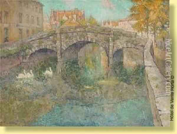 Le Pont Saint Augustin Oil Painting - Paul Leduc