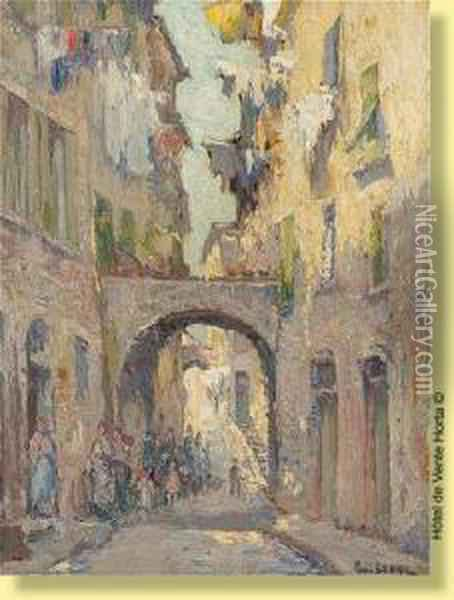 Rue Animee A Menton Oil Painting - Paul Leduc