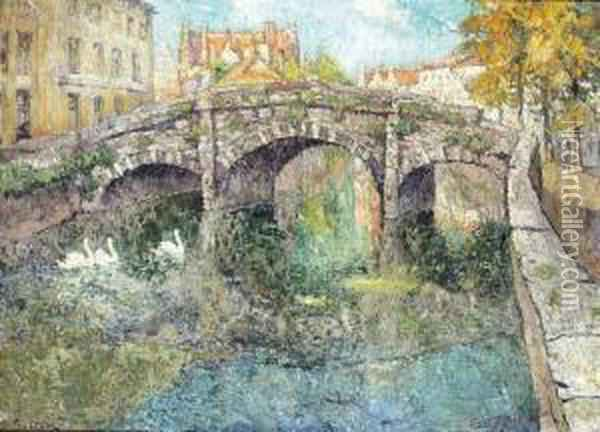 Le Pont Augustin A Bruges Oil Painting - Paul Leduc