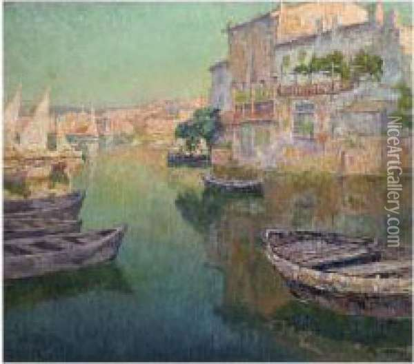 View Of A Southern Harbour Oil Painting - Paul Leduc