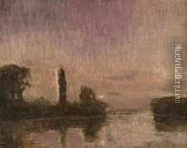 Abendstimmung Am Fluss. Oil Painting - Paul Leduc