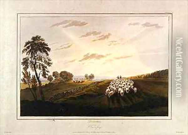 Afternoon A View in Surrey Oil Painting - David Cox