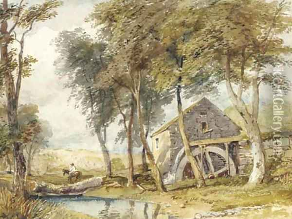 Riding past the watermill Oil Painting - David Cox