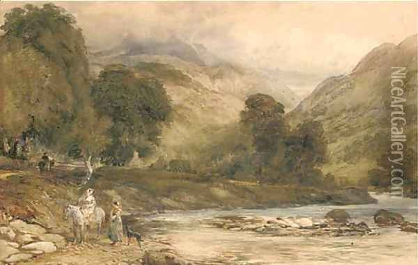 Gossiping by the river Oil Painting - David Cox