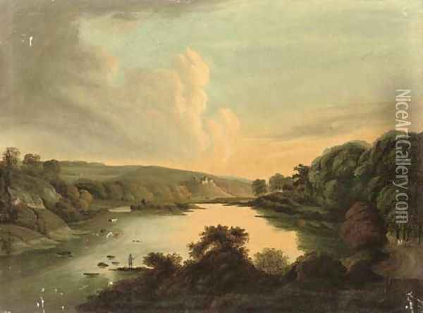 Fishing on a river, sunset Oil Painting - George Cuitt