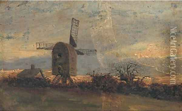 The windmill at Mousehold Heath, Norwich Oil Painting - John Berney Crome