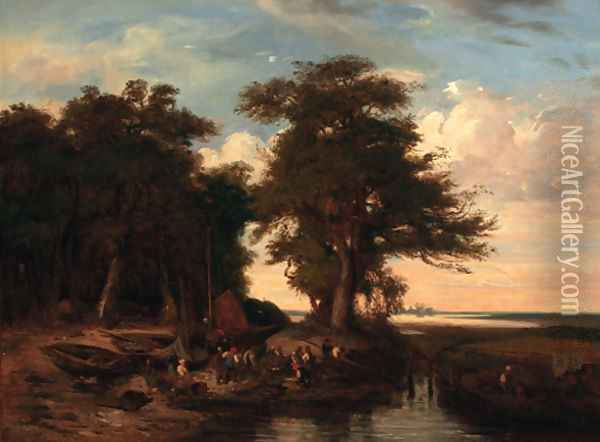Fishermen on the bank of a river in a wooded landscape Oil Painting - John Berney Crome