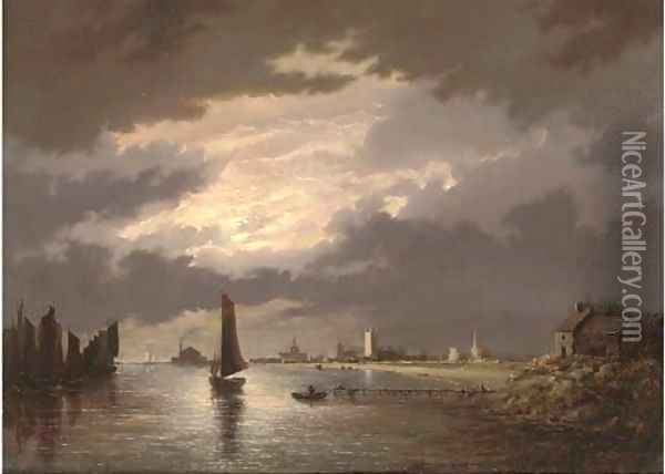 Great Yarmouth by moonlight Oil Painting - John Berney Crome